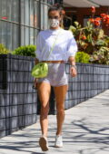 Alessandra Ambrosio displays her toned legs in tiny shorts as she hits the gym before stopping at Kreation in Brentwood, California
