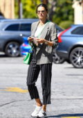 Alessandra Ambrosio keeps it casual yet chic while she picks up her lunch from the Country Mart in Brentwood, California