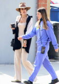 Alessandra Ambrosio looks chic in all-beige ensemble while out for coffee with a friend in Los Angeles