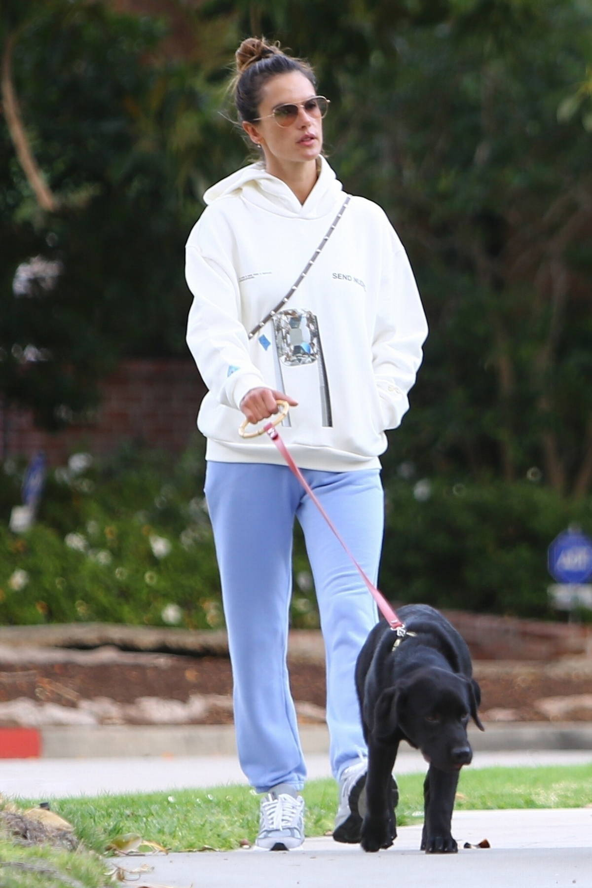 Alessandra Ambrosio looks cozy while out for morning stroll with her BFF Milan Blagojevic in Santa Monica, California