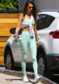 Alessandra Ambrosio showcases her fit physique as she hits the gym before grabbing some organic food in Brentwood, California
