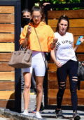 Alessandra Ambrosio shows off her svelte figure in white legging shorts as she leaves a private gym in Los Angeles