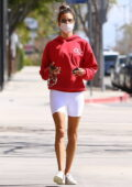 Alessandra Ambrosio shows off her toned legs in white legging shorts while attending a Pilates class in Brentwood, California