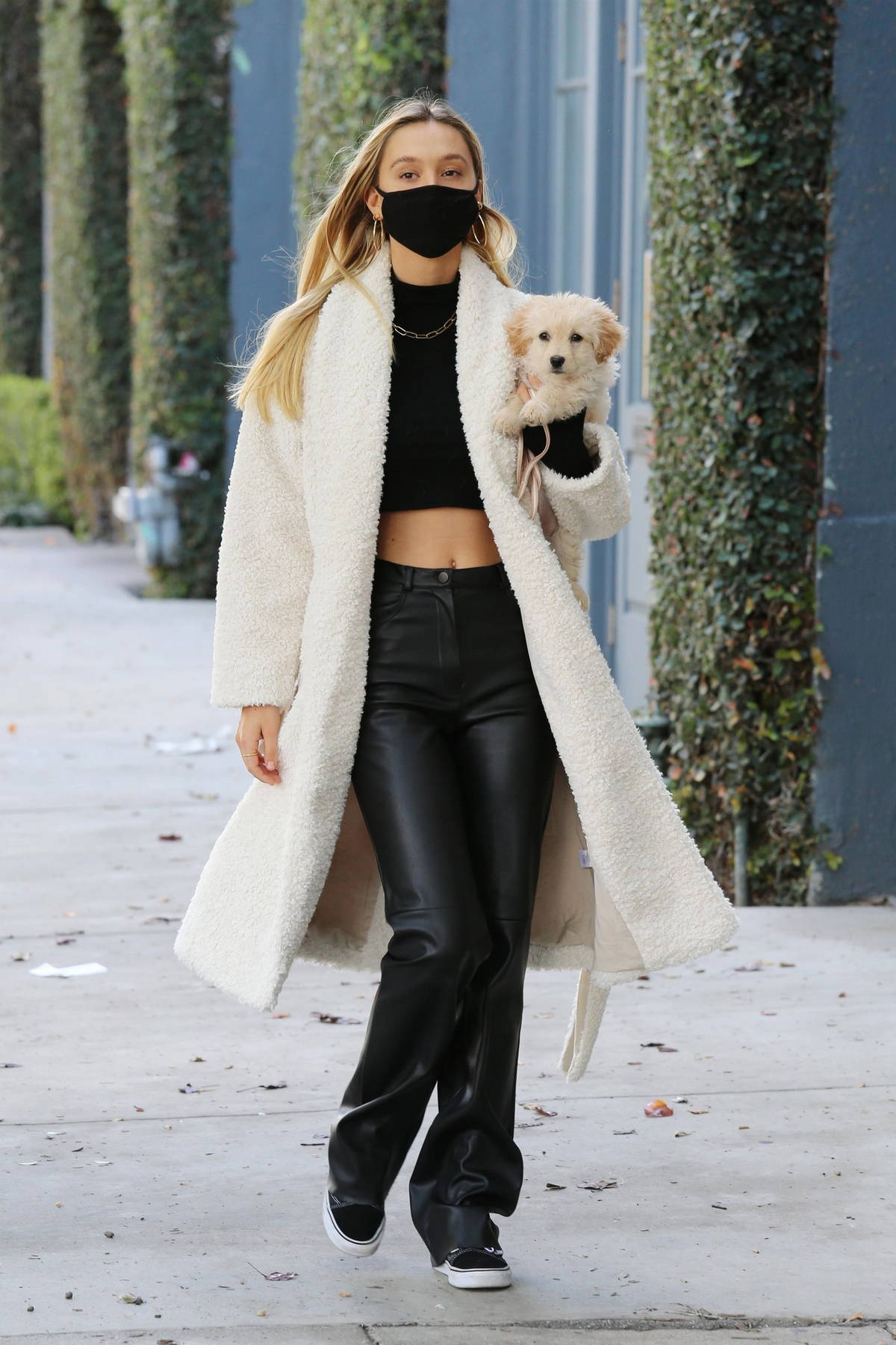 Alexis Ren flashes her perfect abs while making a coffee run with her adorable puppy at Alfred's in West Hollywood, California
