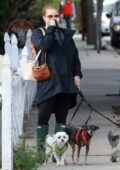 Amy Adams wears a jacket, leggings and rain boots as she takes her dogs out for a walk in Los Angeles