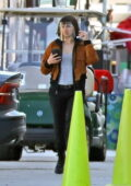 Ana de Armas seen wearing a face-shield on the set of 'The Gray Man' in Los Angeles