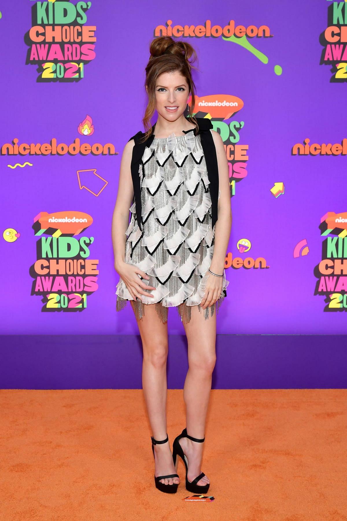 Anna Kendrick attends Nickelodeon's Kids' Choice Awards 2021 at Barker Hangar in Santa Monica, California