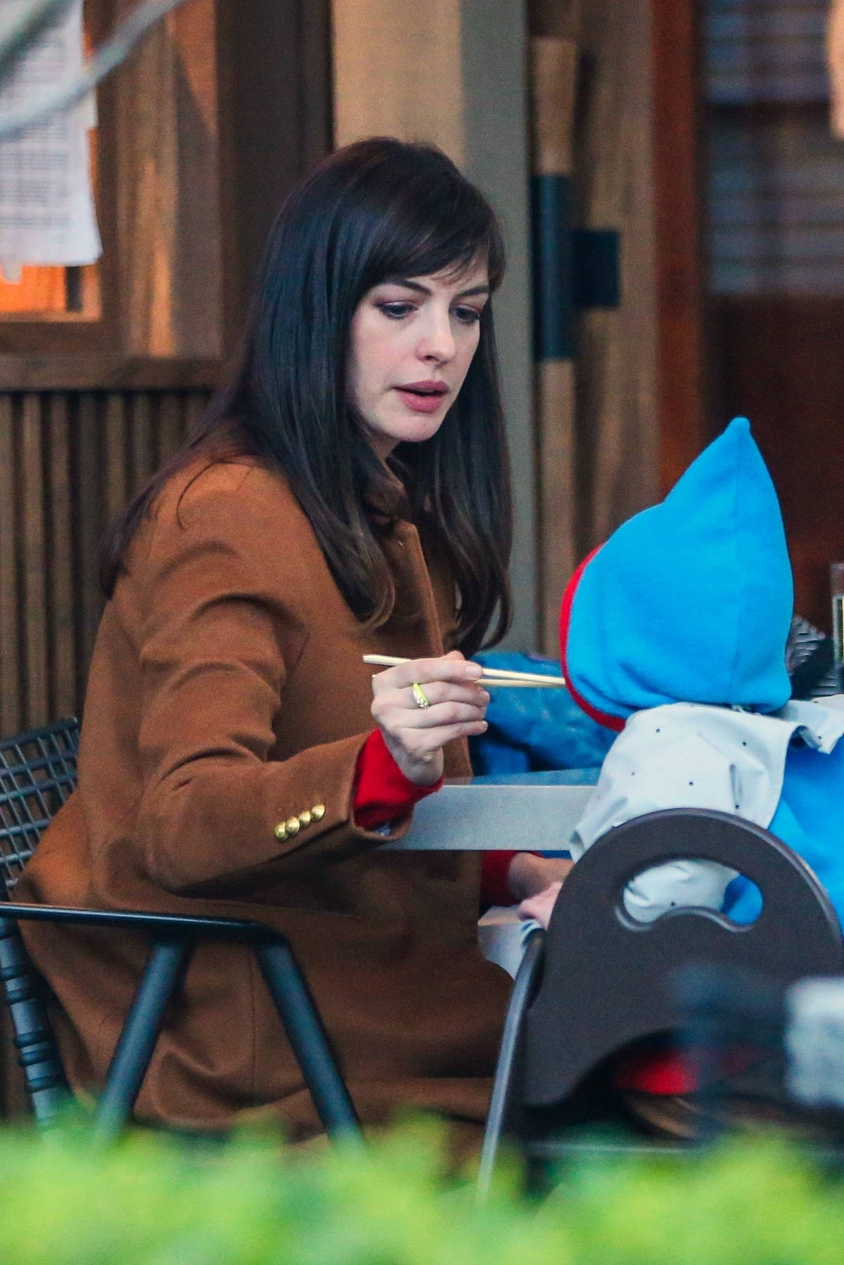 Anne Hathaway enjoys dinner with husband Adam Shulman and their two kids at a sushi place in Los Angeles