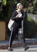 Anya Taylor-Joy dons all-black leisurewear while visiting a friend in Los Angeles