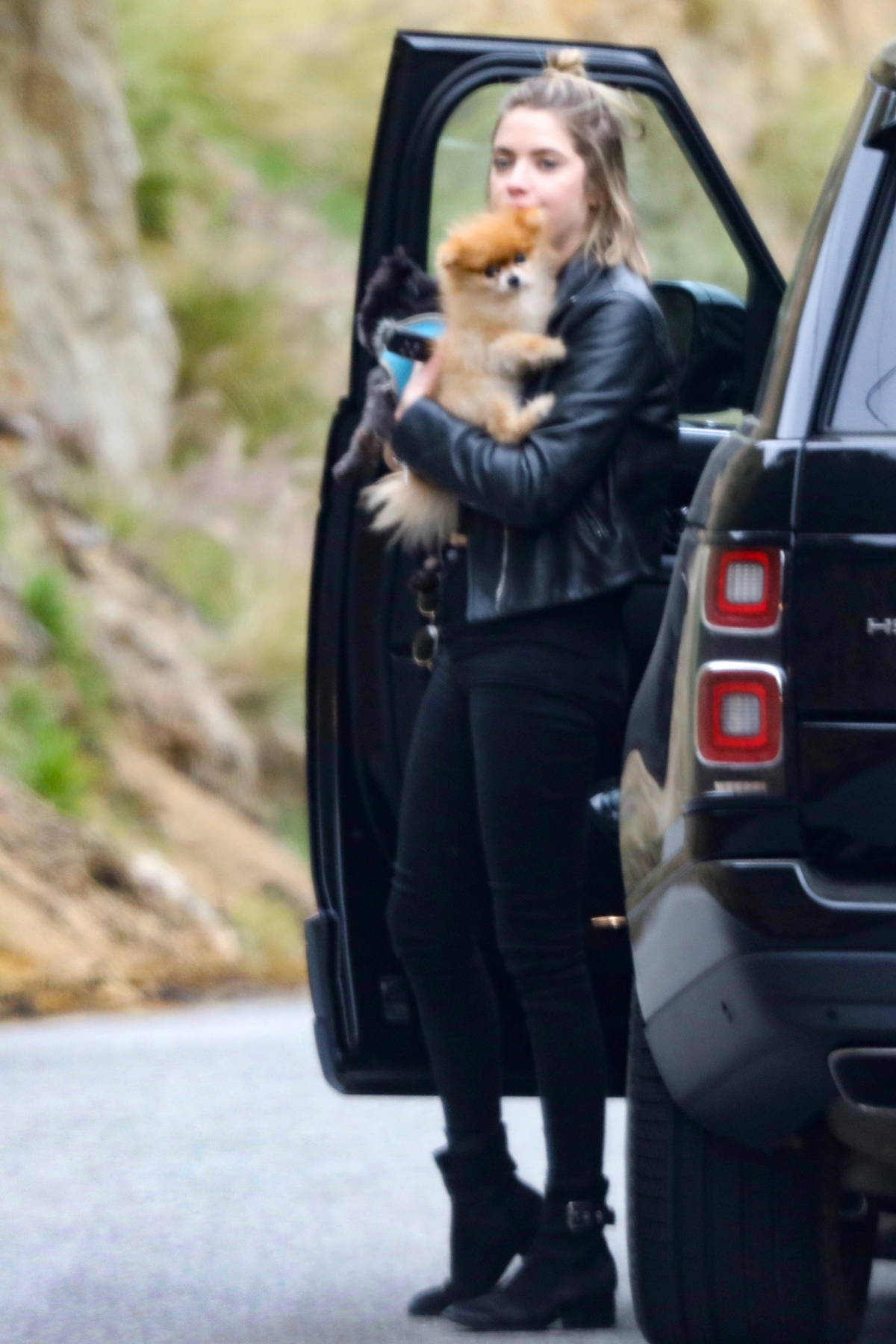 Ashley Benson carries two adorable puppies as she arrives at a friend's house in Malibu, California