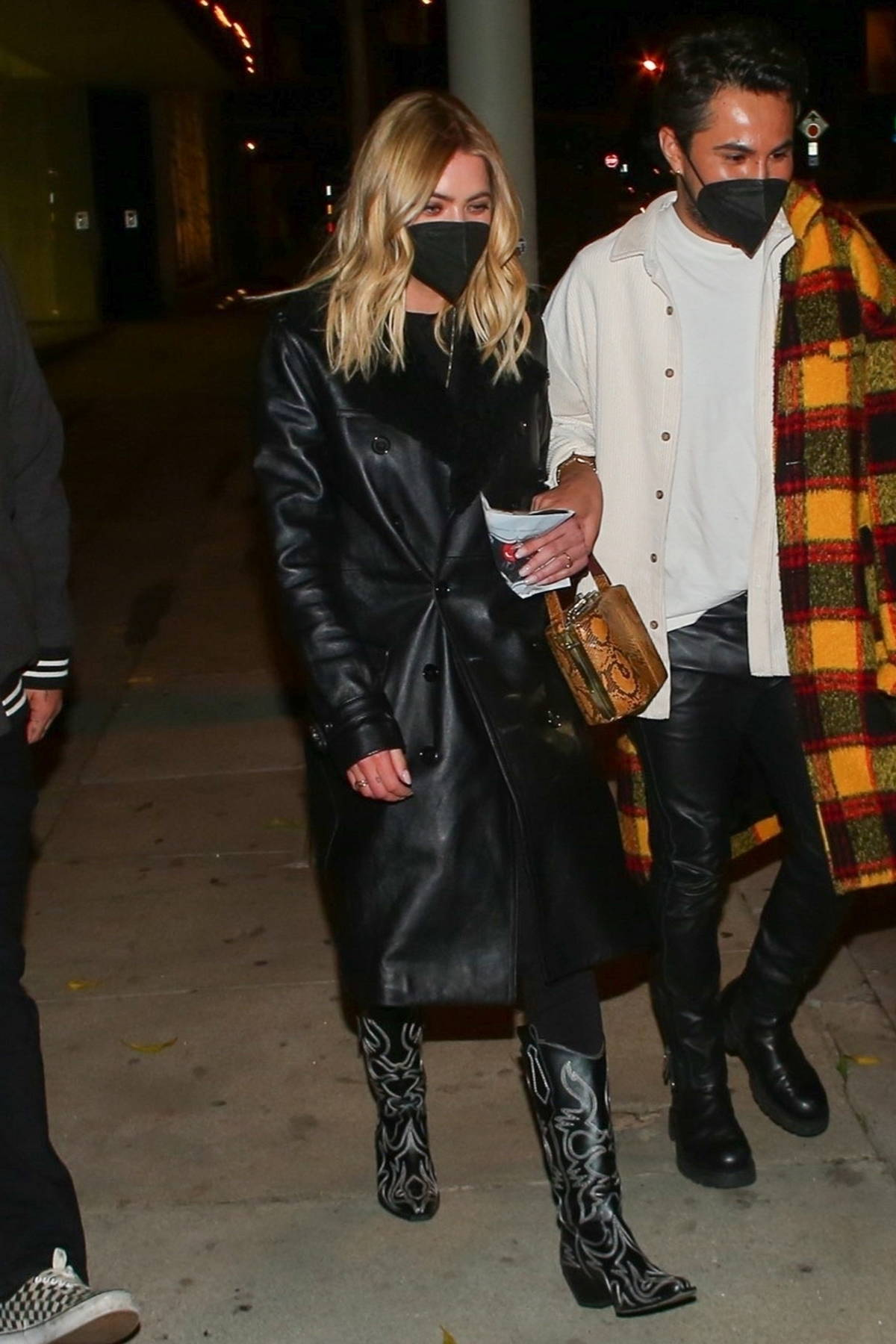 Ashley Benson rocks a leather look for a night out with friends at Craig's in West Hollywood, California