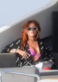 Bella Thorne seen relaxing on a boat with her mom and friends in Miami Beach, Florida