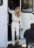 Brie Larson looks great in all-white ensemble as she steps onto the set of her secret project in Los Angeles