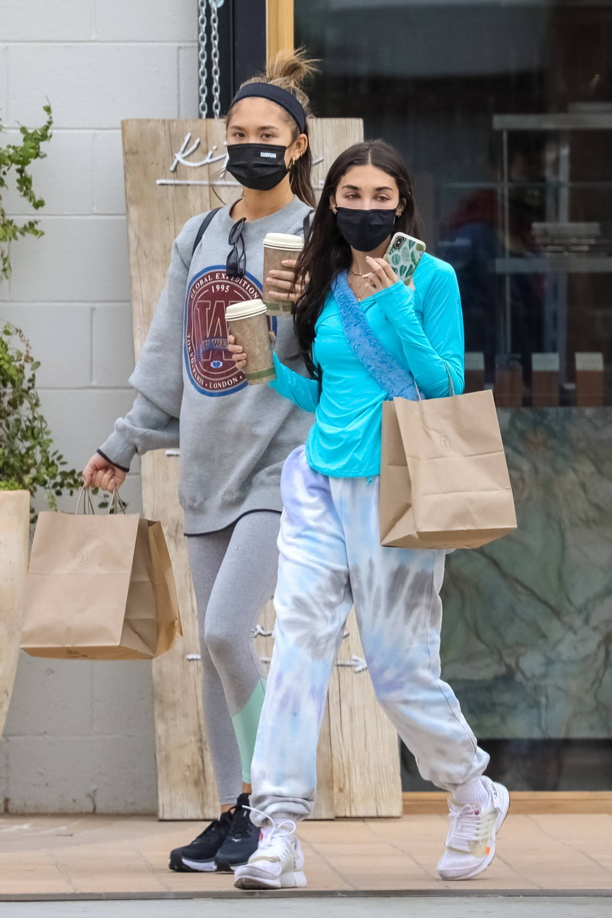 Chantel Jeffries and Jocelyn Chew pick up some coffee products in West Hollywood, California