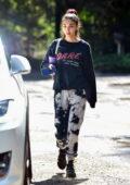 Chantel Jeffries wears sweatshirt and tie-dye sweatpants as she leaves Alex Fine's fitness studio in Los Angeles