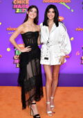 Charli D'Amelio and Dixie D'Amelio attend Nickelodeon's Kids' Choice Awards 2021 at Barker Hangar in Santa Monica, California