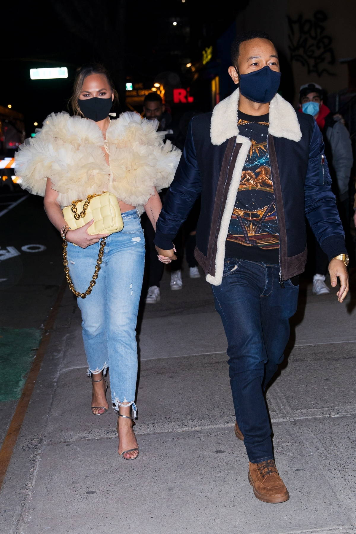 Chrissy Teigen and John Legend keep it stylish as they head to dinner at Panna Il Garden in New York City