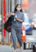 Drew Barrymore keeps things casual as she goes barefoot while out wearing a grey sweatsuit in New York City