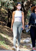 Eiza Gonzalez displays her toned figure in a tank top and leggings while enjoying a hike with a friend in Los Angeles