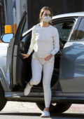 Eiza Gonzalez dons a white sweatsuit during her morning coffee run at Alfred's in West Hollywood, California