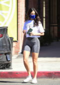 Eiza Gonzalez looks fab in a cropped white tee and grey legging shorts during a coffee run in West Hollywood, California