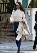 Eiza Gonzalez looks stunning in a white sweater and skinny blue jeans while out for lunch in West Hollywood, California