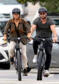 Elsa Pataky and Chris Hemsworth enjoy a bike ride out in Sydney, Australia