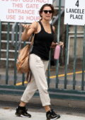 Elsa Pataky waves for the camera as she arrives back to work at the ABC quarters in Sydney, Australia