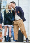 Emily Alyn Lind seen filming with her co-stars on the film set of the 'Gossip Girl' in New York
