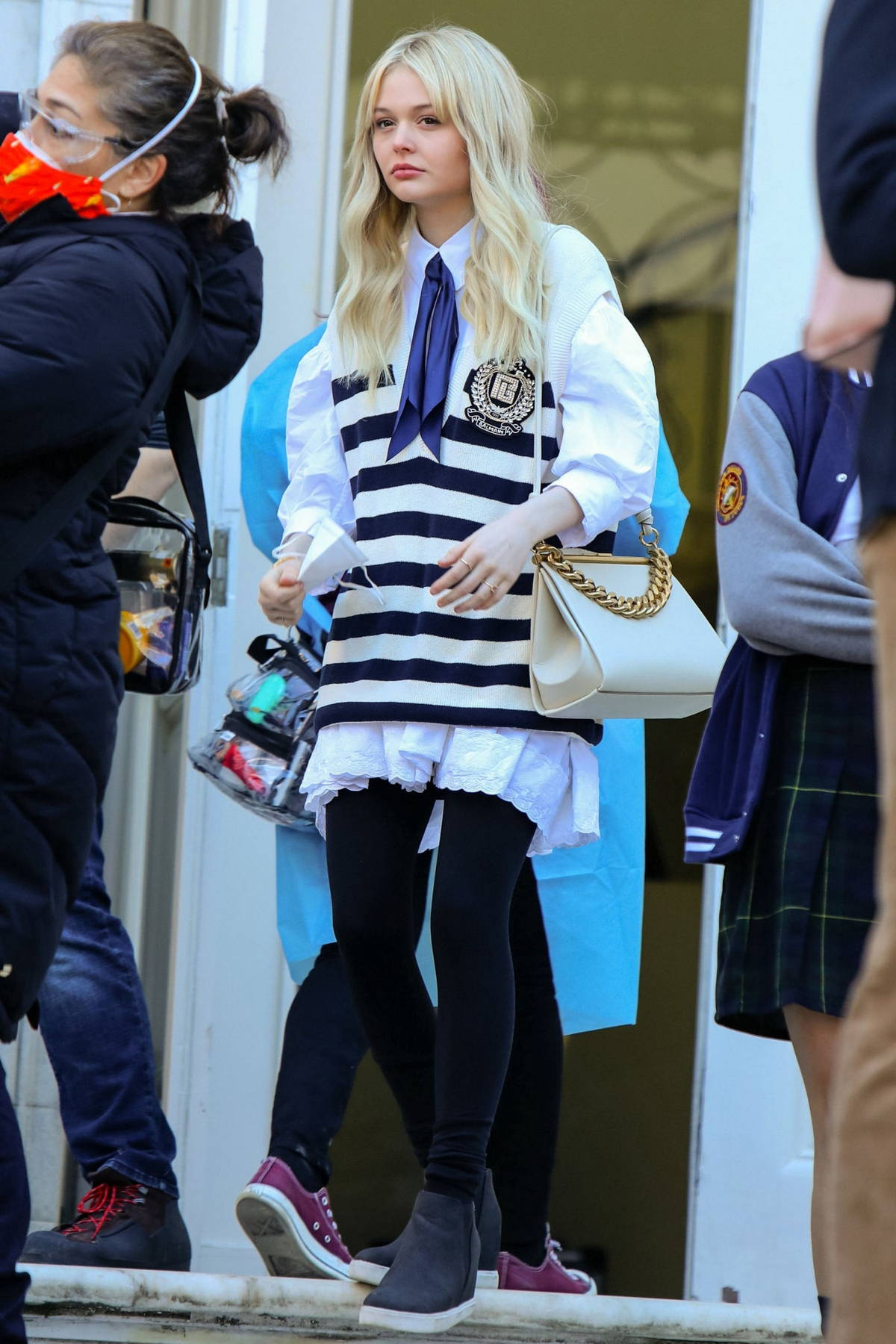 Emily Alyn Lind spotted at the film set of the 'Gossip Girl' TV series in New York City