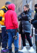 Emily Ratajkowski bundles up in a puffer jacket while out for a stroll with her husband in New York City