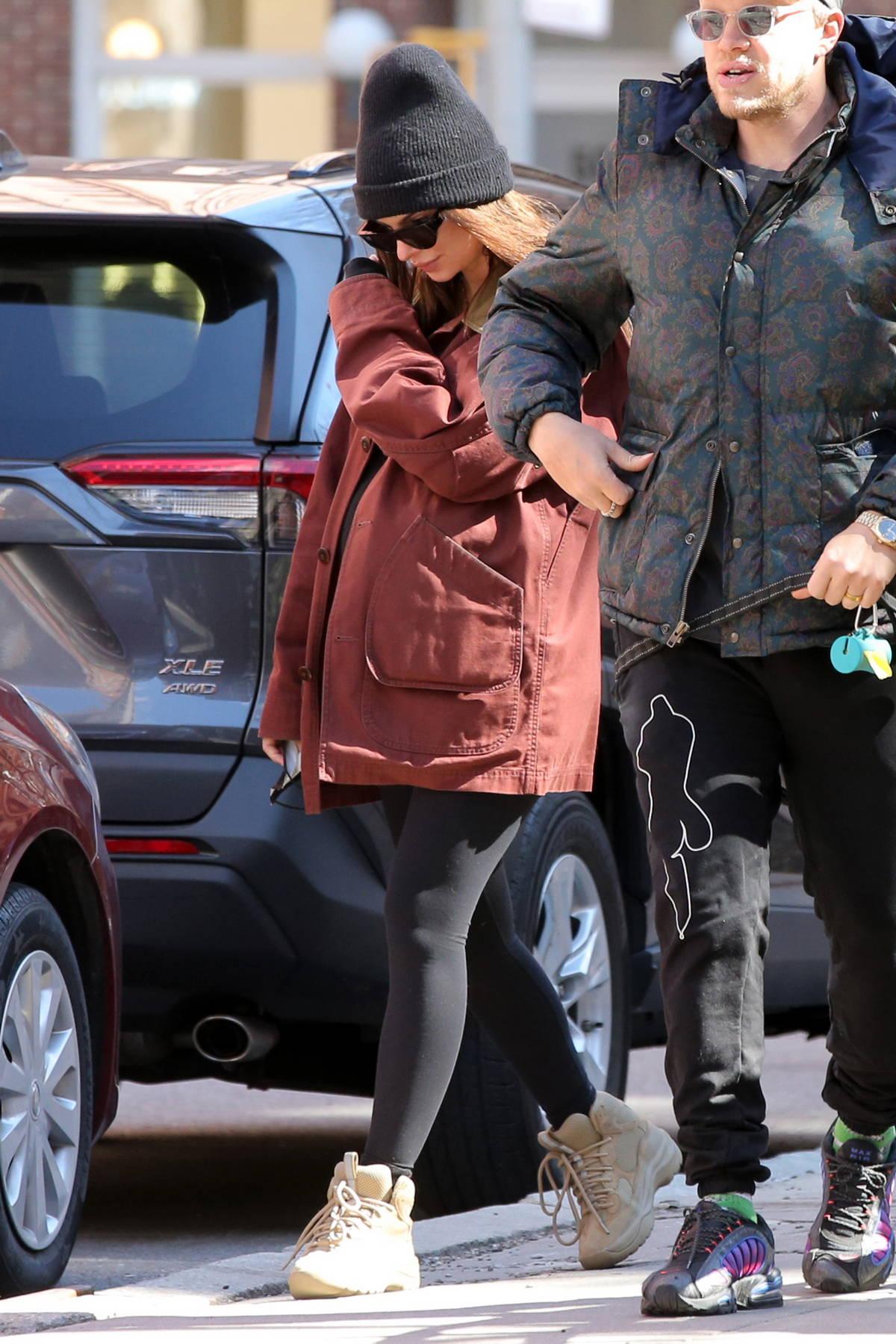 Emily Ratajkowski steps out to walk her dog Colombo with husband Sebastian Bear-McClard in New York City