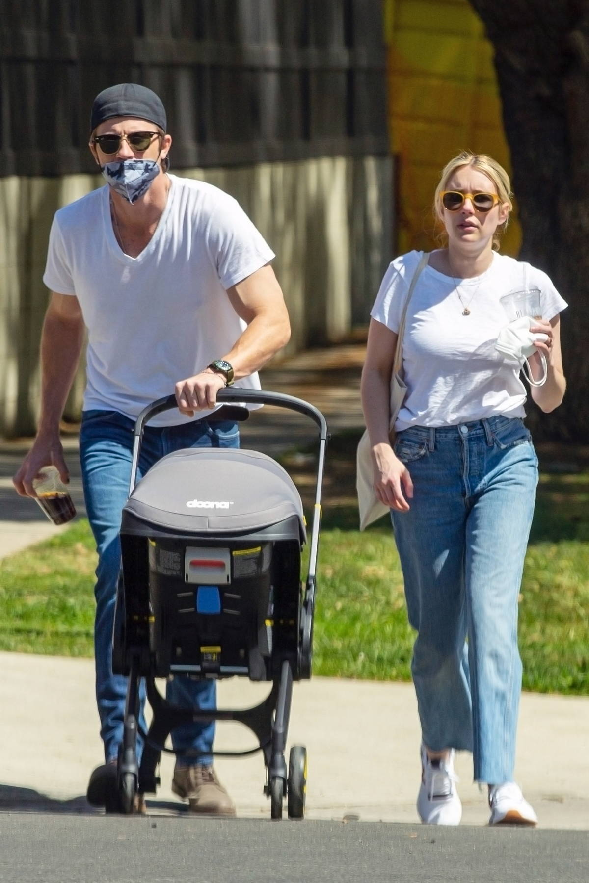 Emma Roberts and Garret Hedlund step out for stroll with their baby in Hollywood, California