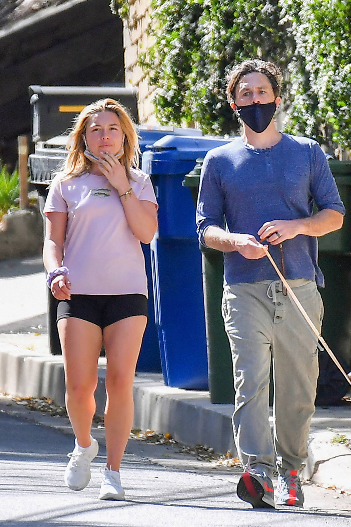 Florence Pugh and Zach Braff step out to walk their dog around the neighborhood in Los Angeles