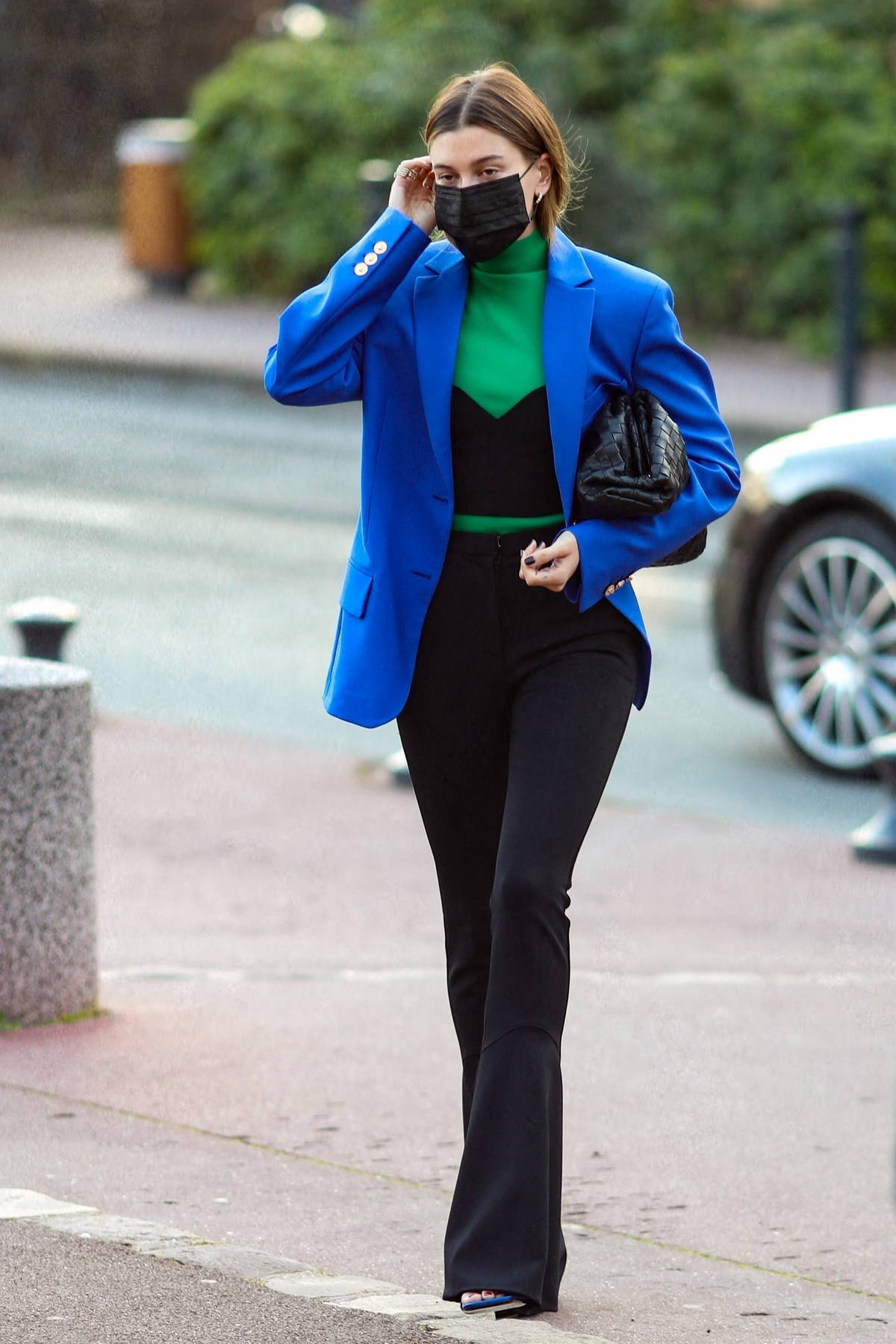Hailey Bieber looks slick in a blue blazer as she arrives at the Rouchon Studio in Paris, France