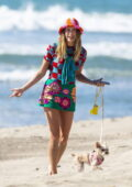 Hailey Bieber spotted in colorful ensemble during a beach photoshoot in Malibu, California