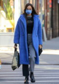 Irina Shayk keeps it stylish in a blue Max Mara coat while out running errands in New York City