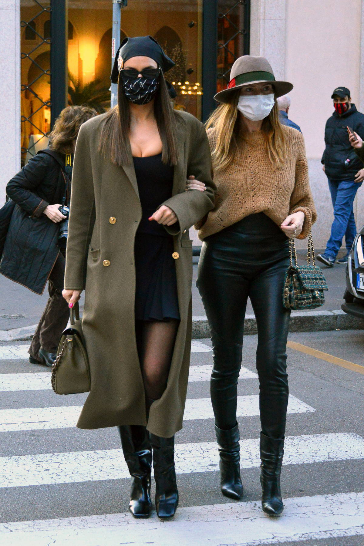 Irina Shayk looks super chic in a Versace getup while out with Valentina Michetti in Milan, Italy