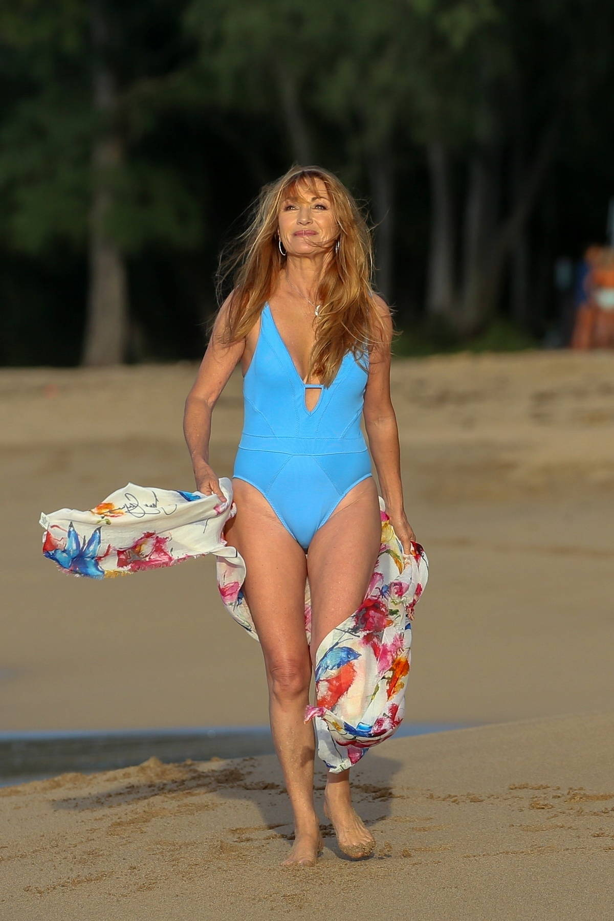 Jane Seymour looks great in a bright blue swimsuit during a break with her family in Hawaii