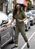 Jennifer Garner looks great in an army green jumpsuit while stopping by her office in Brentwood, California
