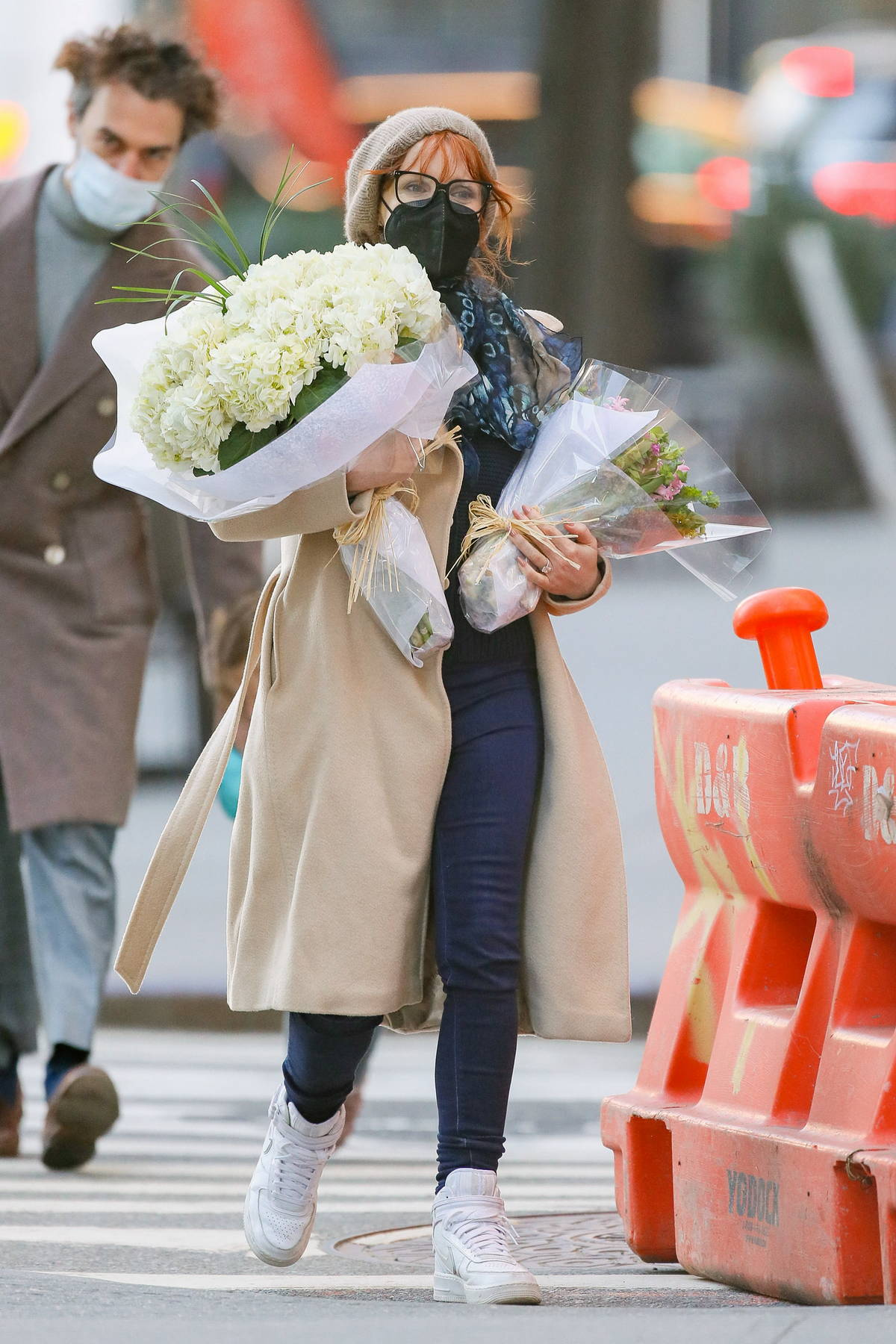 Jessica Chastain picks up some flower bouquets while out shopping with her husband in New York City