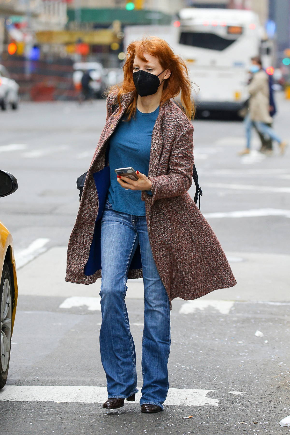 Jessica Chastain takes a yellow cab while stepping out on her 44th birthday in New York City