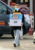 Jodie Comer spotted picking up a photo printer from Sainsbury's in Liverpool, UK