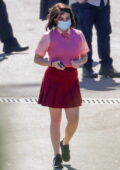 Joey King and Brad Pitt seen filming a crash scene for the upcoming 'Bullet Train' in Los Angeles