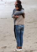 Jordana Brewster and Mason Morfit go on loved up walk on the beach in Santa Monica, California