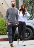 Jordana Brewster and Mason Morfit stop by Caffe Luxxe and Starbucks in Brentwood, California