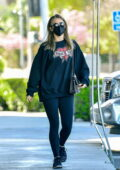 Julianne Hough sports black sweatshirt and leggings as she grabs breakfast and coffee after gym in West Hollywood, California
