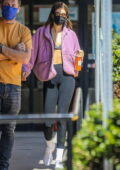 Kaia Gerber shows off her abs while grabbing coffee at Blue Bottle in Beverly Hills, California