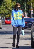 Kaia Gerber sports a blue hoodie and black leggings while attending her morning Pilates session in West Hollywood, California