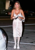 Kara Del Toro looks amazing in a white dress while out for dinner at Craig's in West Hollywood, California